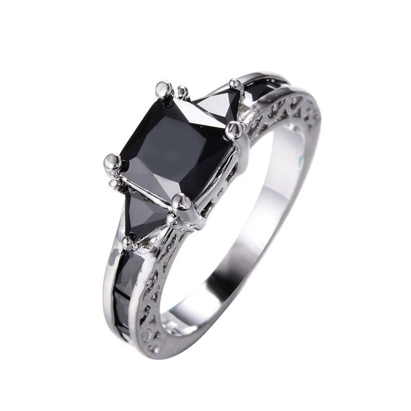Vintage Fashion Square Black Stone Rings for Women Men Wedding