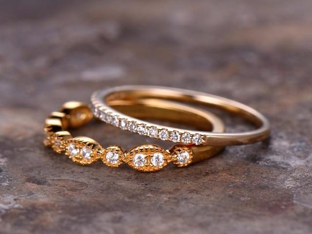 2pcs Half Eternity Wedding Ring Set 925 Sterling Silver Band Milgrain Anniversary