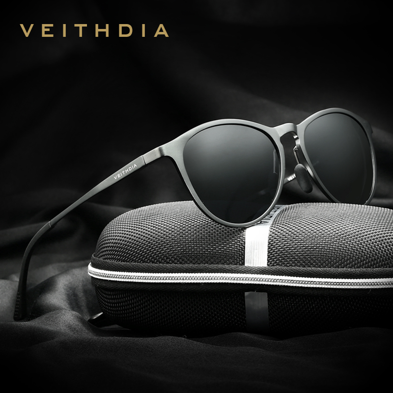 VEITHDIA Unisex Retro Aluminum Magnesium Mirror Sunglasses Polarized Lens Vintage Eyewear Driving Sun Glasses Men/Women 6625