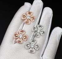 925 pure silver luxury brand jewelry new yiyong split fan ear studs micro set zircon silver rose gold lady ear studs