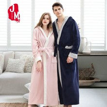 Winter Coral Velvet Bathrobe Women Thick Warm Coulpe Hooded Robe Flannel Extra Long Bath Dressing Gown 100kg Can Wear