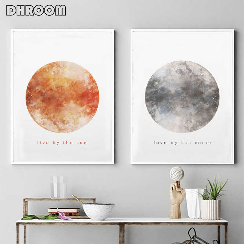 DHROOM Minimalist Wall Art Sun and Moon Watercolor Canvas Art Prints Painting for Living Room Nordic Picture Poster Decor