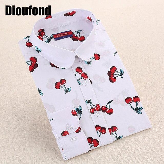 Cherry Dioufond Nowy Floral Vintage Bluzka Z Długim rękawem Turn Down Collar Shirt Blusas Feminino Panie Bluzki Damskie Topy Moda