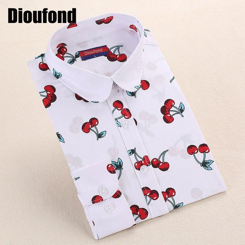 Hot New Camisa Feminina Manga Longa Floral Print Blusas De Renda Feminino Women Shirts Blouses Cherry