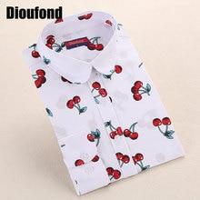 Dioufond новый цветочный длинным рукавом старинные блузка черри отложным воротником рубашки Blusas Feminino дамы блузки женская верхняя одежда мода(China (Mainland))