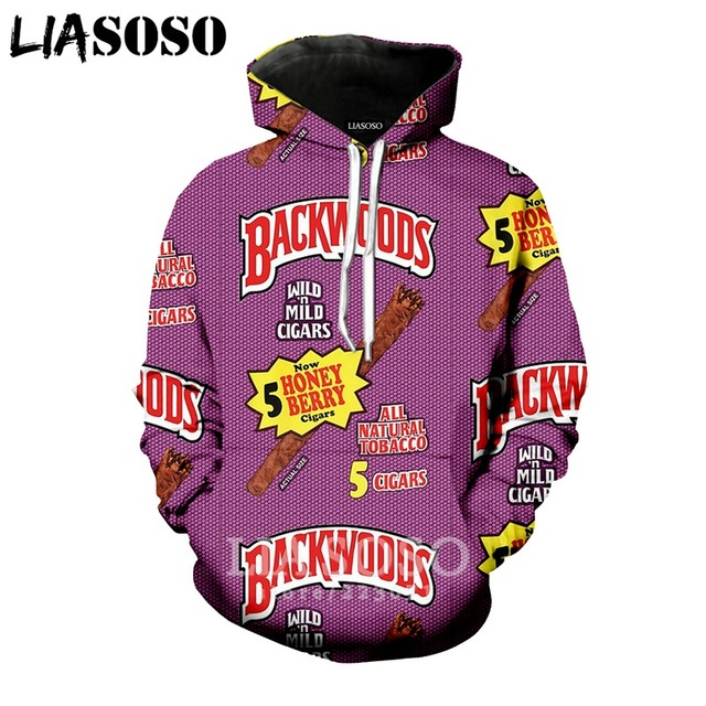 LIASOSO 2018 Winter New Men Women Fashion Sweatshirt 3D Print Backwoods Hoodie Long Sleeve Hip hop Harajuku Pullover B005-02