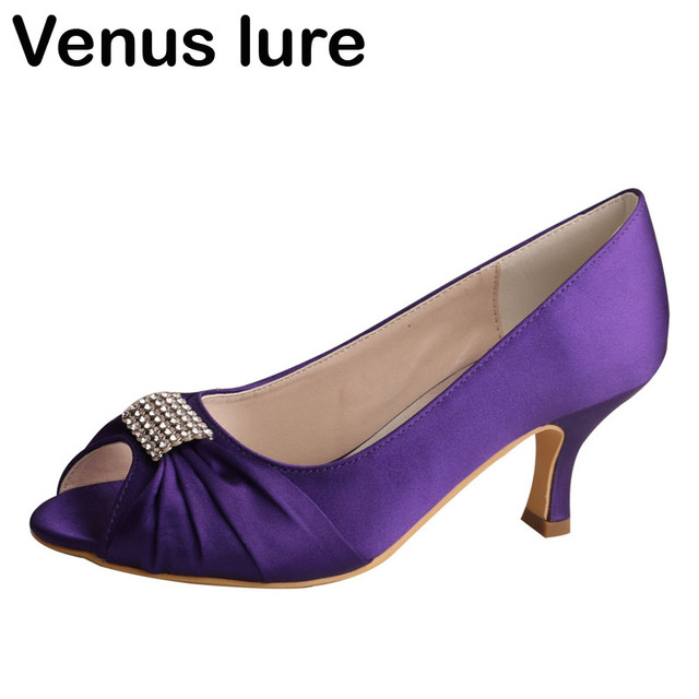 bffb433e4f4 Purple Mid Heel Shoes Women Wedding Peep Toe Evening Party Pumps with Charms