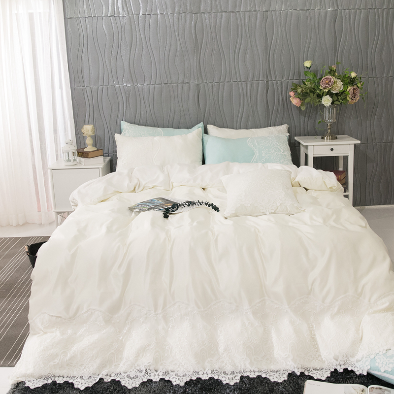 Luxury White Pink Blue Gray 100% Cotton Princess Girl Lace Bedding Set Queen King Duvet Cover Bed Sheet Bed Linen Pillowcases