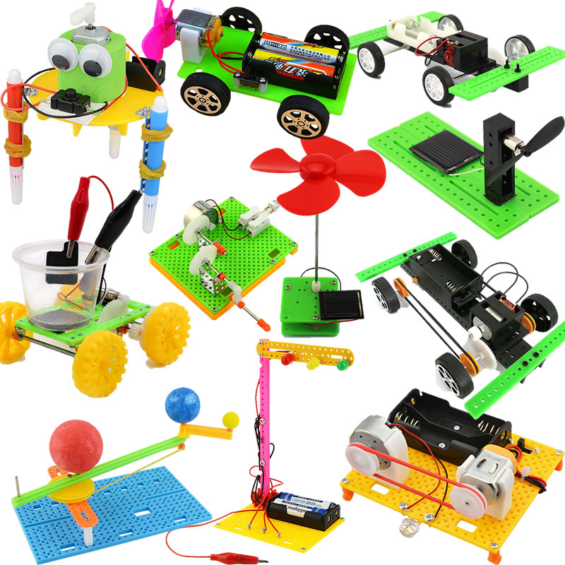 Funny DIY Double Wings Wind Power Racing Car Experiments Educational Kit Toy