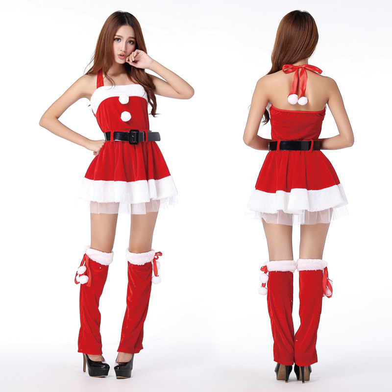 2018 Hot Santa Claus Costume For Women DS Role Playing Nightclub Clothing Stage Performance Clothing Hanging Neck Christmas Set