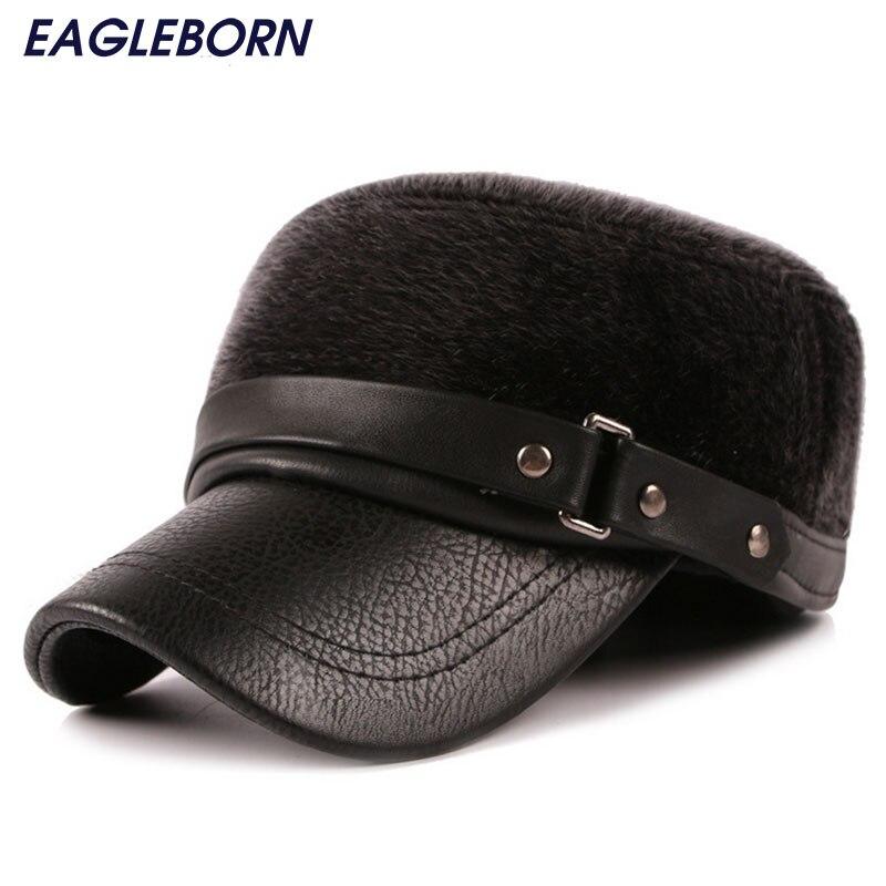 Prix pour La russie hommes de fourrure garder au chaud flat top cap snapback classique reto chapeaux en cuir pu patchwork cap avec oreillettes