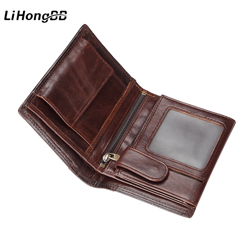 100% Genuine Leather Men's Purse Brown Wallets Coin Pocket Portable Male Wallet Retro Cash Purse Money Bag Business Card Holder