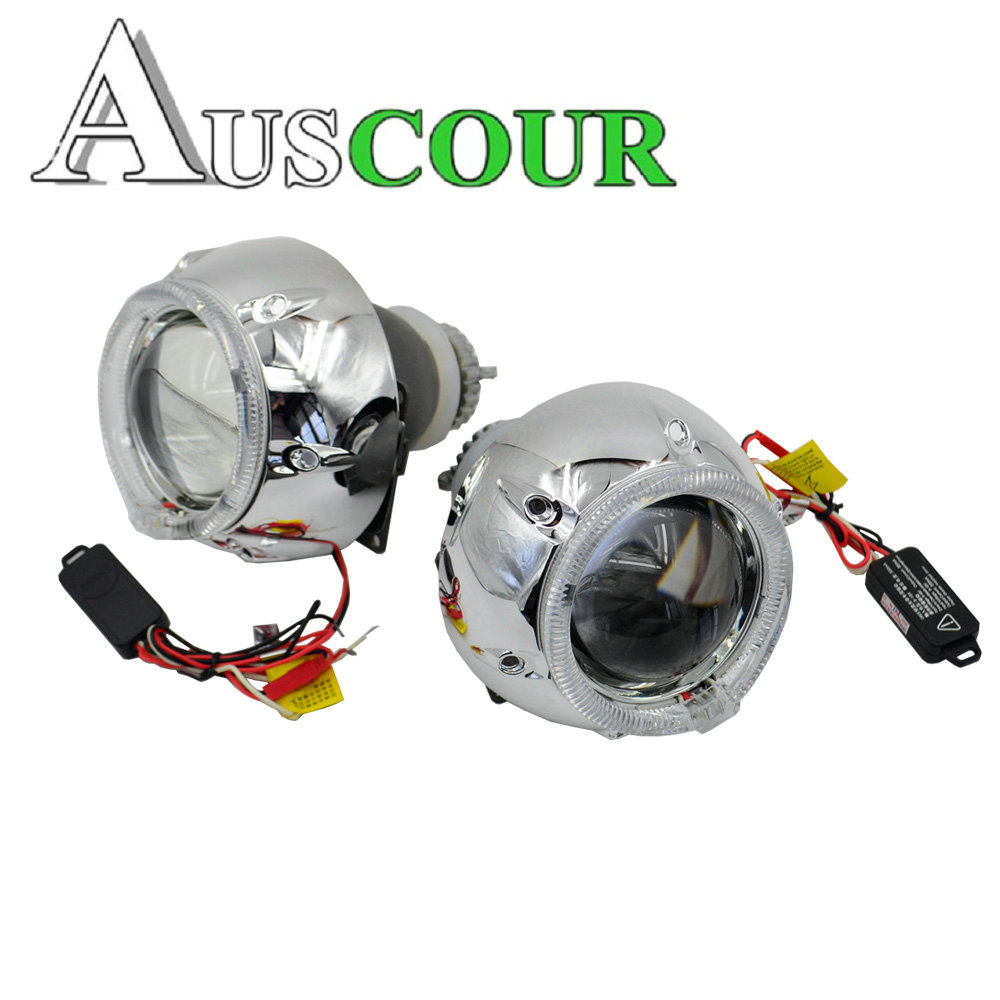 2pcs 3.0 inch H4Q5 Bi xenon hid Projector lens metal holder D1S D2S D2H D3S with LED day running angel eyes mask DRL modify 2pcs 3 0 inch h4q5 bi xenon bixenon hid projector lens metal holder d2h xenon bulb 35w fast start xenon ballast new version