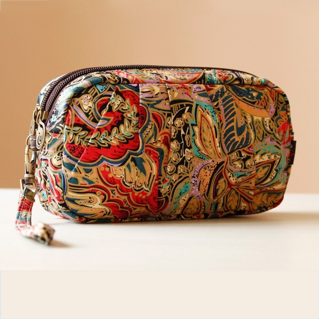 2016 New Chinese National Bags For Women's Day Clutches Canvas Shoulder Crossbody Bags Female Flower Small Handbags Purse Wallet