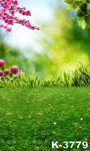 Top Quality Photography Scenic Backdrops Green Grasses & Beautiful Flowers Props Photo Backgrounds Studio 5*7ft