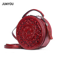 Genuine Leather Handbags For Women Fashion Vintage Printing Tassel Round bag Soft Handbags For Girls Real Leather Hand bags Lady