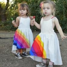 Summer Dresses for Girls Toddler Baby Girls Sleeveless Dresses Rainbow Print Backless Dress Clothes  F326