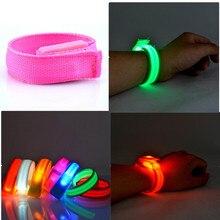 Светодиодный светоотражающий светильник блеск Flash светящиеся световой повязки наручный ремешок для рук браслет на запястье браслет Браслеты