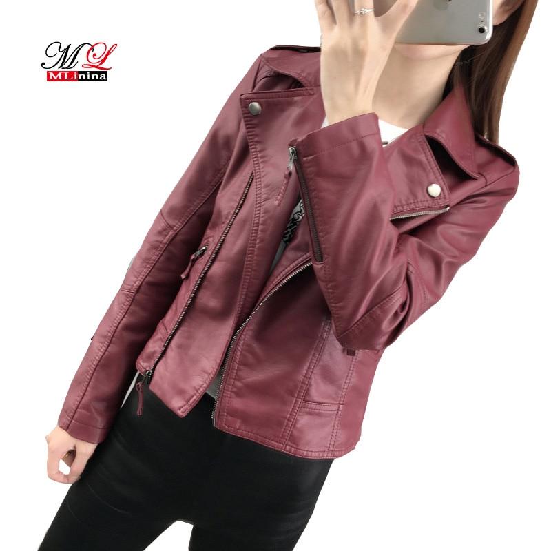 MLinina Motorcycle Pu Faux   Leather   Jacket Women Rivet Coats Vintage Short Paragraph Lapel Coat Mujer Zipper Slim Basic Jackets