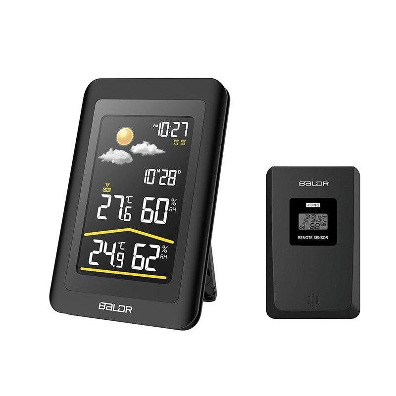 Baldr Senza Fili Digitale di Umidità Termometro Grande Display LCD A Colori, Sensore Esterno, Allarme Snooze, Barometro e Retroilluminazione Bianca