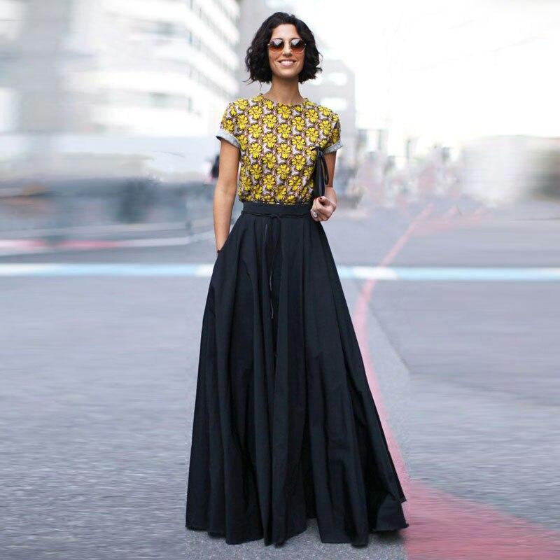 Haute rue mode longues jupes femmes élégant étage longueur noir Maxi jupe 2017 Saias Falda fait sur commande toute taille couleur libre