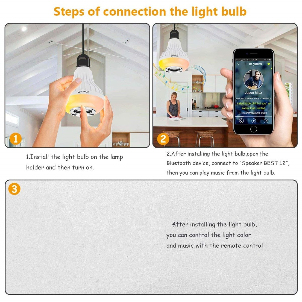 US $28 0 |E27 Wireless Bluetooth Bulb Speaker with Remote Control Colorful  Led Light for Cell Phone Home Outdoor BT MUSIC Blutooth Speaker-in Outdoor