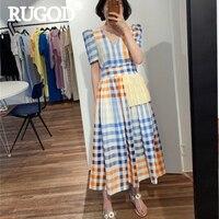 RUGOD женское клетчатое длинное платье с v-образным вырезом и пышными рукавами, со шнуровкой и бантом, плиссированное платье, Новое поступлени...
