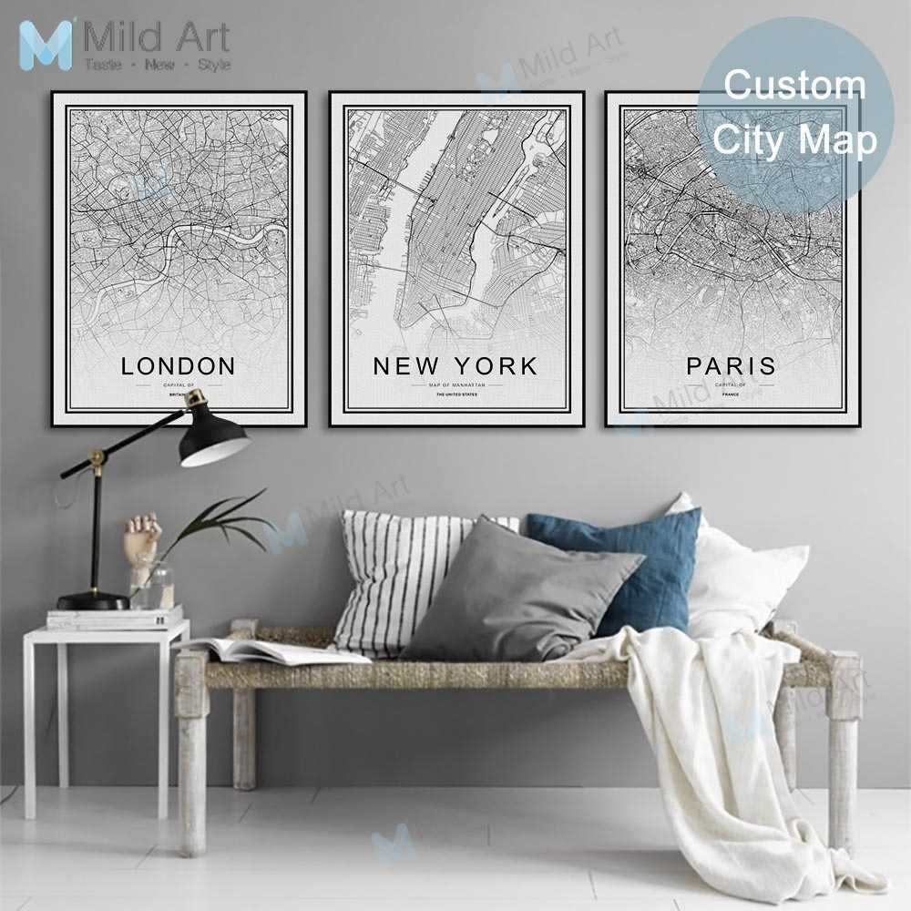 Black White Custom World City Map London Paris New York Posters Prints Nordic Style Wall Art Pictures Home Decor Canvas Painting