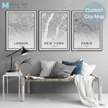 Black White Custom World City Map London Paris New York Posters Prints Nordic Style Wall Art Pictures Home Decor Canvas Painting(China)