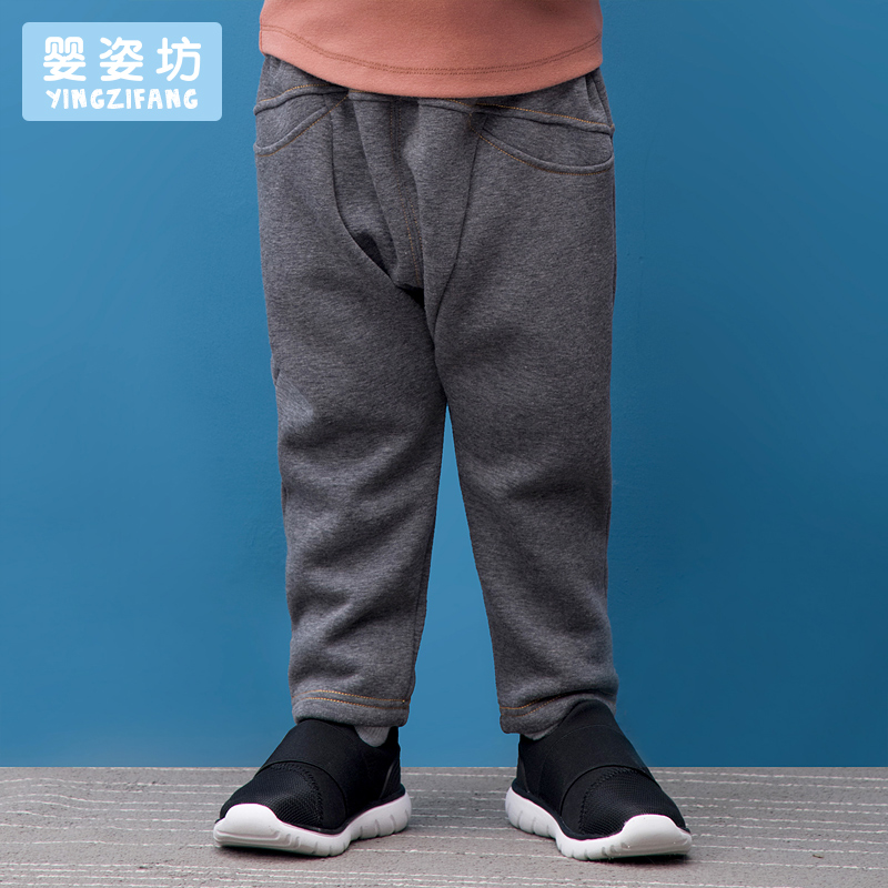 Toddler Hot Sale New Boys pants Straight Mid Cotton Yingzifang Boys' Winter Thick Velvet Solid Leggings Inverted Warm Pants new fashion style hot sale autumn winter thick male jeans straight slim looking men full length pants heavyweight solid cozy