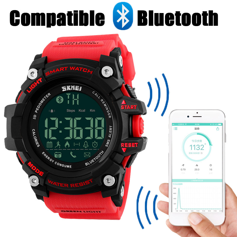 SKMEI Men Smart Sport Watch Bluetooth Calorie Pedometer Fashion Men