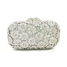Women evening party bag diamonds luxury crystal clutch bridal wedding party purses bag flower chrysanthemum crystal purses