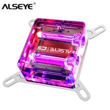 وحدة تبريد المياه بقاعدة نحاسية LED من ALSEYE لتبريد المياه Intel وamd LGA 775 115X 1366 2011 AM2 + AM3 + AM4