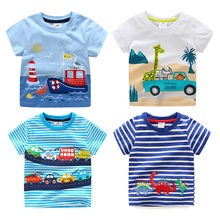 2021 Summer 2-10T Children'S Birthday Clothing Dinosaur Car Striped Print Short Sleeve Basic Tops Cartoon T Shirt For Kids Boy