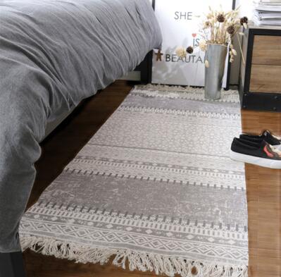 Nordique multi-fonction tapis lin tatami décoration chevet tapis noir blanc anti-dérapant tapis de sol tapis d'extérieur porte d'entrée