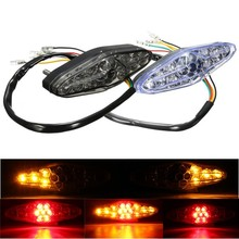 Motorcycle 15 LED Rear Tail Brake Stop Running Turn Signal Light for Suzuki Honda Kawasaki