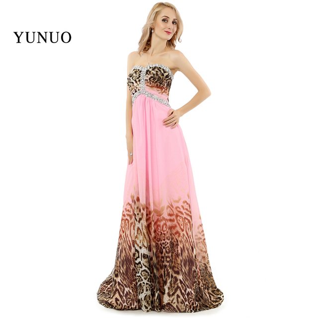 Custom Made evening gown Pink Print Leopard Evening Dresses Long ...