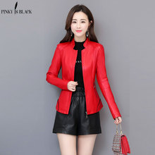 PinkyIsBlack Womens Leather Jacket Casual Short Faux Coat Female Plus Size Spring Autumn Stand Collar Motorcycle Jackets