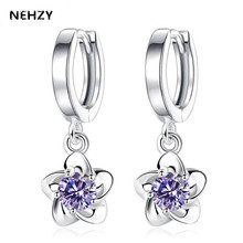 NEHZY New fashion female women chiming silver color earrings temperament simple plum blossom peony flower earrings fall jewelry