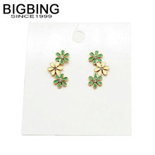 BIGBING jewelry fashion green yellow flower stud earrings set fashion stud earring high quality free shipping V210(China)