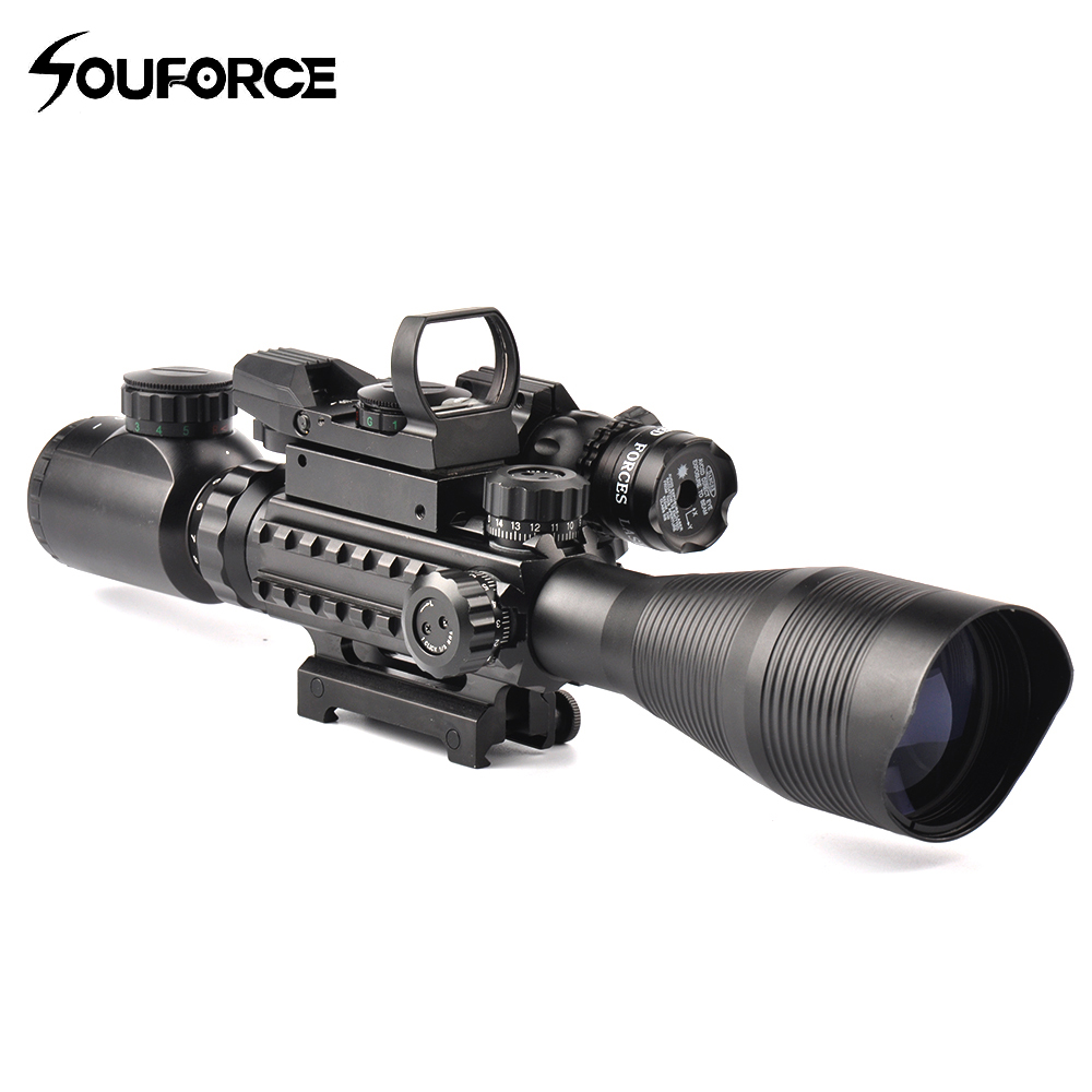 Tactical 4-12X50EG Rifle Scope with Holographic Dual Illuminated Dot Sight and Red/Green Laser Combo for Rifle Airsoft Gun Sight