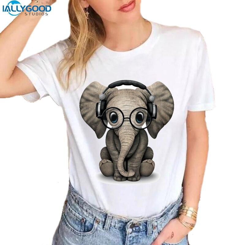 New Harajuku Cute Baby Elephant T-shirt Women Funny Music Headset T Shirts Slim White T Shirts Casual Women Kawaii Tops S677
