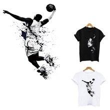 Термо-Стикеры для одежды на одежде утюжок на нашивки с полосками применение одного термочувствительного патчи цветок аппликация полоса Баскетбол