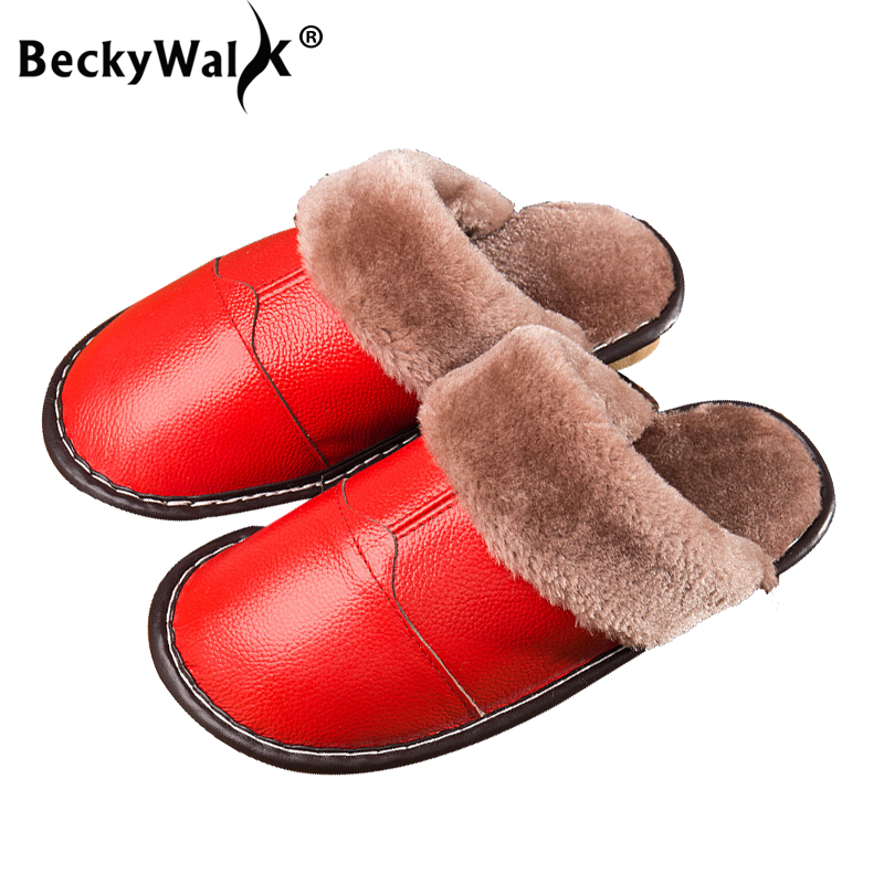 BeckyWalk 2018 New Genuine Leather Home Slippers High Quality Women Men Winter Slippers Warm Plush Indoor Lovers Shoes WSH3108 2017 new autumn winter women slippers genuine leather high quality rabbit hair fashion slippers flat home slider warm fluff 8 40