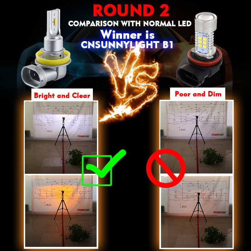 CNSUNNYLIGHT Car Fog Lights B1 H11/H8/H9 9005/HB3 9006/HB4 LED Bulb Auto Driving DRL Lamp White/Yellow 2400Lm Plug&Play 12V 24V