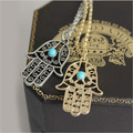 OBABY Jewelry hot sale Ethnic Style Personality Necklace Temperament Small Palm Pendant Necklace dress accessories for Women