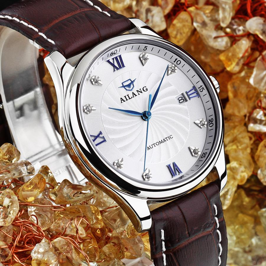 Vintage Classic Roman Number Men AILANG Business Watches Automatic Calendar Dress Wrist watch Self Winding Relojes 3ATM NW7198 luxury men brand crystals dress watches self winding mechanical 316l band calendar wristwatch saphir relojes analog 3atm nw4239