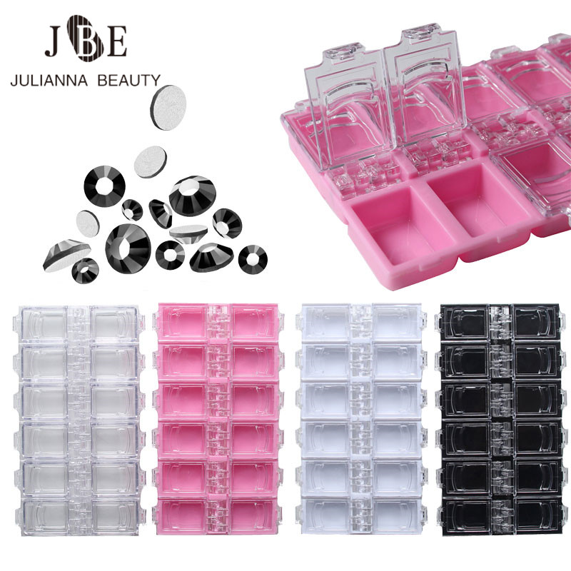 12 Grids Empty Rhinestone Storage Case Crystal Beads Jewelry Box for Decoration Container Nail Art Accessories Accessories Case Մեծածախ