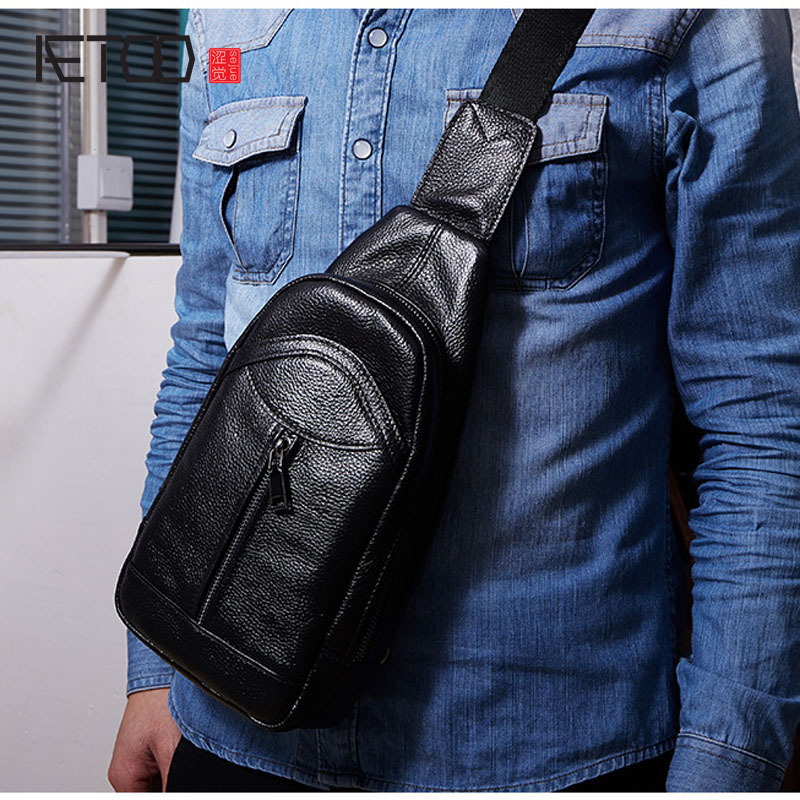 AETOO New casual leather men's bags Europe and the United States fashion multi capacity large function men's chest bag leather s
