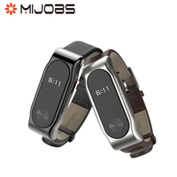 Mijobs PU Leather Wrist Band Strap for Xiaomi Mi Band 2 Smart Bracelet Replacement Belt with Steel Metal Frame